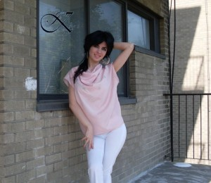 Jennifer Kaya fashion design: pink top with white pants