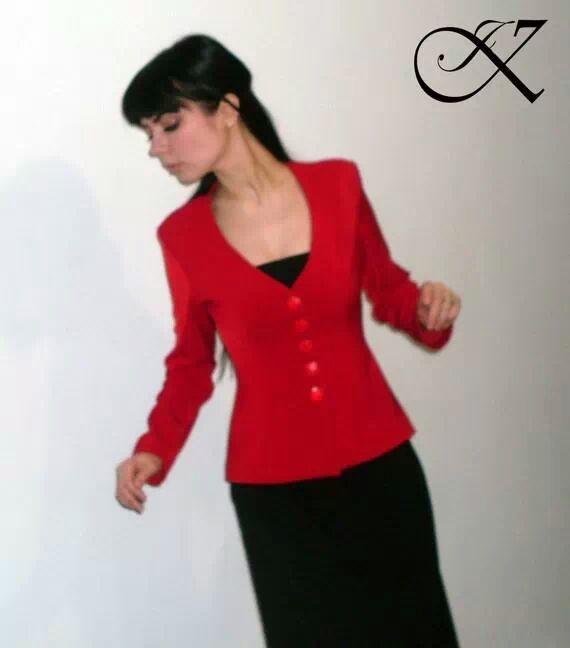 Jennifer Kaya fashion design: black dress with red jacket