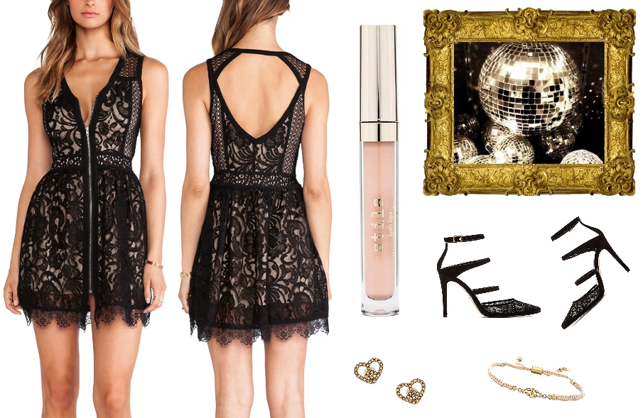 Night Out Outfit Idea / Chic & Sexy Style / black lace mini dress