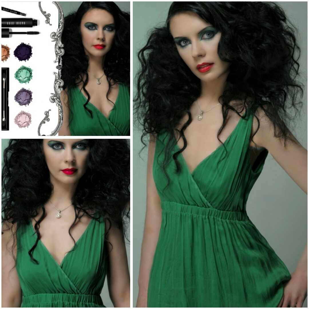 Kayajenn Jennifer Kaya Canadian fashion blogger and Montreal vlogger, youtuber, makeup, hairstyle. Green dress