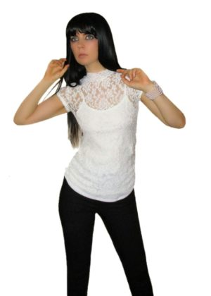 White Lace Mock Neck Top