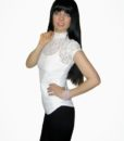 jennifer kaya online   clothing   boutique  fashion White Lace Mock Neck Top