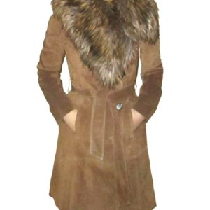 Suede Belted Coat With Asymmetric Detachable Fur Collar