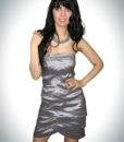 Gorgeous short strapless silver cocktail prom dress