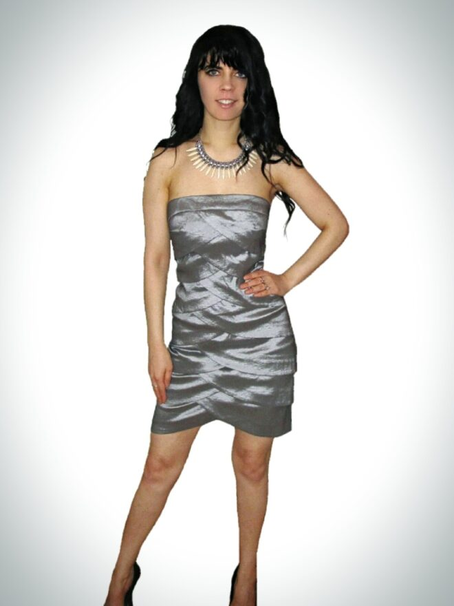 Gorgeous short strapless silver cocktail prom dress - Affordable ...
