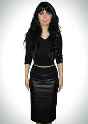 Black knee length stretch pencil skirt