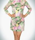 Loose-Fitting Floral Print Mini Dress With 3/4 Sleeves