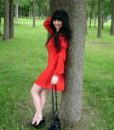 PicsArtLoose Mini Red  Dress With Metallic Beads At The Edges Of the V Shaped Neckline & On The Sleeve Cuff_09-16-10.52.50
