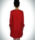 Loose Mini Red  Dress With Metallic Beads At The Edges Of the V Shaped Neckline & On The Sleeve Cuff