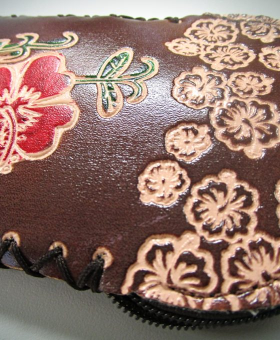 Brown Handcrafted Faux Leather Keychain Wallet With Flower Art