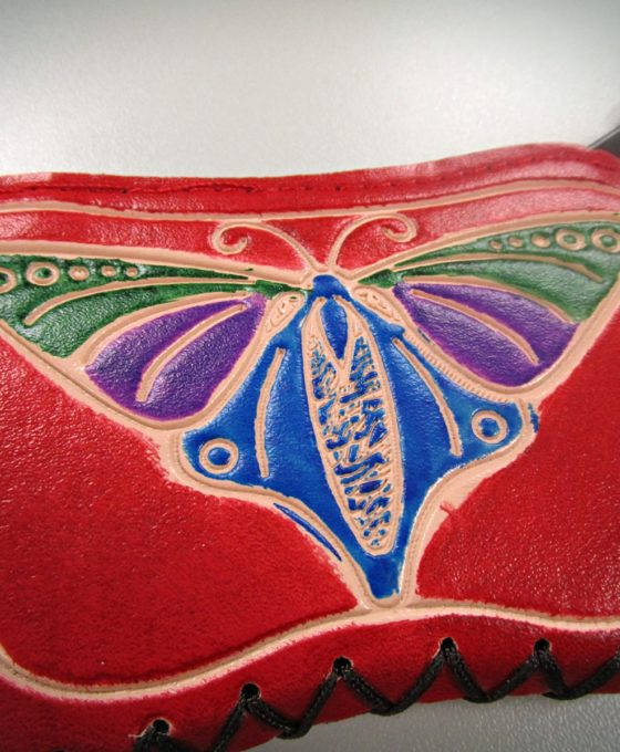 Red Handcrafted Faux Leather Keychain Wallet With Butterfly Art