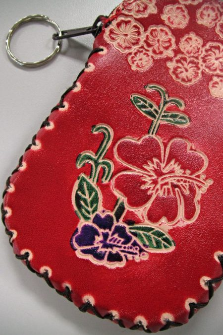 Beautiful Red Light Handcrafted Faux Leather Keychain Wallet With Flower Art